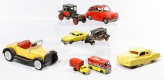 """Lot 510: Japanese Metal Toy Vehicle Assortment; Including six vehicles marked """"Made in Japan,"""" a Nylint roadster and a plastic """"Sparkling Siren"""" police car"""