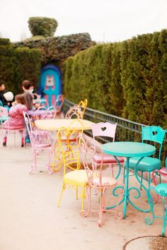 colorful chairs and tables (Disneyland Paris)