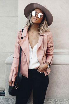 Street style, spring outfit, fall outfit, leather jacket outfit, casual outfit, boho chic outfit, valentine's day outfit, casual valentine's day outfit - nude fedora, pink leather jacket, white blouse, black skinny jeans, black booties, mirror sunglasses, black shoulder bag