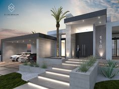 Find home projects from professionals for ideas & inspiration. Residencia 118 by Elias Braun Architecture House Front Design, Modern House Design, Modern House Facades, New Modern House, Restaurant Facade, Modern Front Yard, Dream House Exterior, Modern Bungalow Exterior, House Entrance