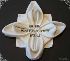 Learn how to fold a beautiful napkin for an elegant dinner party or just for fun! Here are 17 napkin folding step-by-step tutorials that are sure to wow your… Christmas Napkin Folding, Christmas Napkins, Christmas Crafts, Christmas Ideas, Xmas, New Years Eve Images, How To Make Snowflakes, Elegant Dinner Party, Snowflake Craft