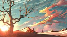 Red Sky Background, Background, Drawings, Landscapes & Scenery, Paintings & Airbrushing, Vexel