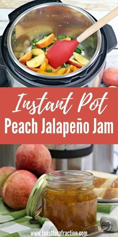 This Instant Pot Peach Jalapeño Jam in the perfect blend of sweet and spicy.  Enjoy it on toast for breakfast or serve with cream cheese and crackers as a delicious appetizer. #canning #peachjam #appetizer #jalapeño #instantpot #pressurecooker www.feastforafraction.com Jam Recipes, Fruit Recipes, Sauce Recipes, Jelly Recipes, Summer Recipes, Dinner Recipes, Peach Jalapeno Jam, Peach Jam, Best Instant Pot Recipe