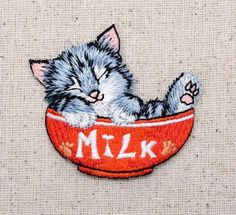 Iron-On Applique Embroidered Patch Cat Kitten Sleeping in Red Milk Bowl