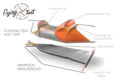 Pour ceux qui aiment voyager léger, cette tente se transforme en hamac et en poncho