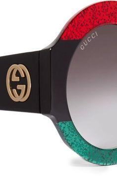 Gucci - Oversized Round-frame Glittered Acetate Sunglasses - Black - one size