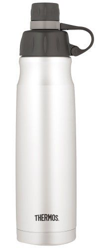 Thermos Nissan 26-Ounce Vacuum-Insulated Hydration Bottle by Thermos Nissan. $29.01. Enjoy a 26-ounce hydration bottle designed to keep drinks refreshingly cold for up to 12 hours. The twist-off lid protects the spout from dirt and germs. Sweat-proof design means no pesky water rings on furniture. BPA free and constructed with an unbreakable stainless-steel interior and exterior. Made with Thermax double-wall vacuum insulation to virtually eliminate temperature c...