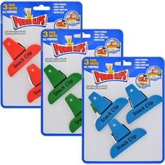 Power Clips Spring-Loaded Plastic Snack Clips, 3-ct. Packs