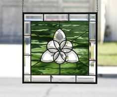 CELTIC CIRCLES ~ Large Contemporary Stained Glass Window Panel with Clear Beveled Celtic Tri-Circle & Emerald Green Glass on Etsy, $120.00