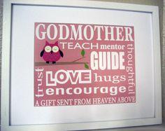 Godmother Gift Custom Owl Print Wall