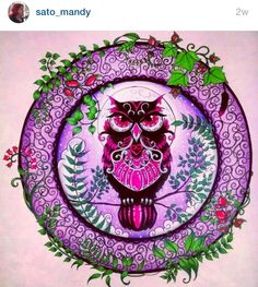 Love the purples and pinks. Enchanted Forest owl.