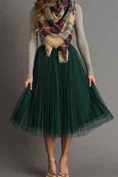 Vienna Green Pleated Tulle Midi Skirt