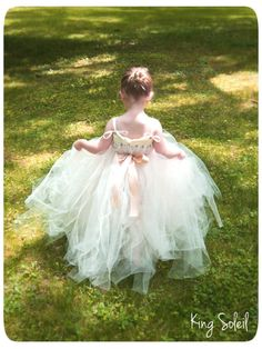 Flower Girl Tutu Dress Ribbon Sash Rolled Tulle and by KingSoleil, $118.00