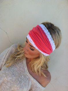 Wide Headband  Dark Coral Jersey with White Lace by ThreeBirdNest, $22.00
