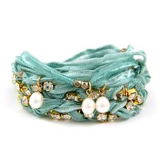 Turquoise Vintage Ribbon Wrap Bracelet with Gold Rhinestone and Pearl Pendants