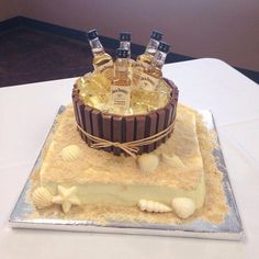 Coastal Groom S Cake With Mini Jack Daniel Tennessee Honey Whiskey