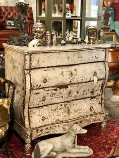 """19th Century Marble Top Spanish Chest With Distressed Paint   45"""" Wide x 25.5"""" Deep x 44.5"""" High   $4400  Clutter Antiques 5015 Lovers Lane Dallas, TX 75209"""