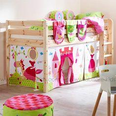 CLASSIC by Flexa Lit mi hauteur 90x200 cm blanchi avec échelle inclinée et rideaux Princesse (3)