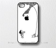 the giving tree with apple logo-- Black and White--iphone 4 case, iphone 4s case, iphone case. $8.99, via Etsy.