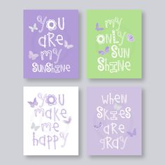 Girl Purple Wall Art Purple and Green Butterfly Nursery Wall Art Playroom Art - You Are My Sunshine 8x10 nursery decor baby shower gift Pin now to view later
