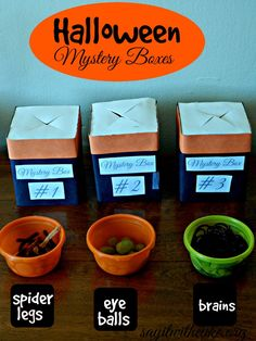 mystery boxes for Halloween party | www.sayitwithcake.org | #halloweenpartygames
