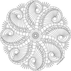 Rosemary's Jewels octopus mandala to color available in jpg and transparent png versions. Octopus Coloring Page, Mandala Coloring Pages, Coloring Book Pages, Coloring Sheets, Mandala Painting, Dot Painting, Mandala Art, Book Clip Art, Quilling Patterns
