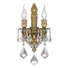 Traditional Elegance 2 light French Gold Finish Crystal Wall Sconce Light - Overstock Shopping - Top Rated Sconces & Vanities