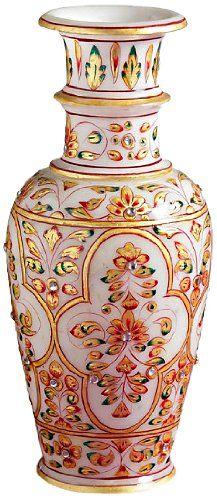 Aapno Rajasthan Gold Work Pure Marble Vase (22.86 cm x 10.16 cm)