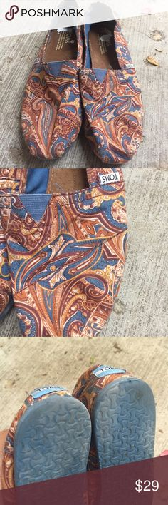 TOMs Paisley brown blue orange Great pair of Tom's flats, size 10, beautiful brown blue orange beige coloring. Paisley print. Very minimal wear. Very clean. TOMS Shoes Flats & Loafers