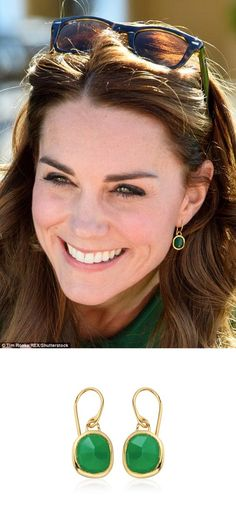 Kate debuted a new pair of earrings by Monica Vinader for her visit to Kelowna, Canada on September 28, 2016. The organic, irregular shaped multi-faceted green onyx gemstone is encased in 18ct gold-plated vermeil on sterling silver.