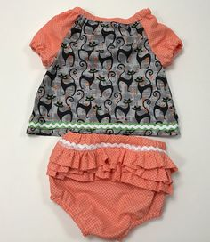 Sassy Cat Top & Ruffle Diaper Cover Set Size 12 - 18 months  WTOKSCS16 by WhigsandTories on Etsy