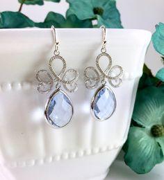 Steel Blue Teardrop Earrings by BlingNiks