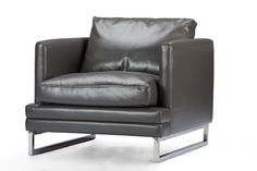 Baxton StudioDakota Pewter Gray Leather Modern Chair | Affordable Modern Furniture in Chicago
