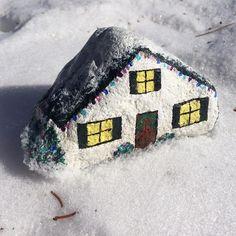 #rockpainting #rock #snow #christmaslights #christmasvillage #paintedstonesofinstagram