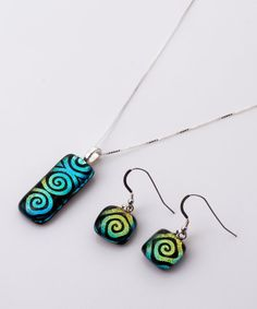Modern Dichroic Glass Spiral Suite by prismartglass on Etsy, Dichroic Glass, Spiral, Glass Art, Pendant Necklace, Drop Earrings, Trending Outfits, Unique Jewelry, Handmade Gifts, Modern