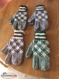 For sale men 100%wool trigger mittens and ladies 100%wool mittens.$15.00 a pair Lots of different colours if wanted. Call 690-0805