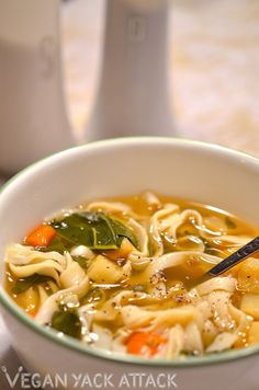Oven roasted vegetable and tofu noodle soup