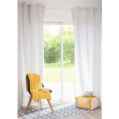 BAIXO cotton eyelet curtain, grey, 105 x 250cm