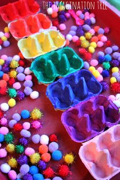 Sensory Table - Egg carton colour sorting trays