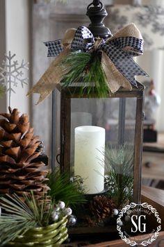 P erfect for this autumn season! getting ready for winter decor! FARMHOUSE CHRISTMAS VIGNETTE-lantern with greens-stonegable...