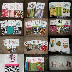 Customized Baby Burp Cloths set of 4 by SewWhiteShop on Etsy, $28.00