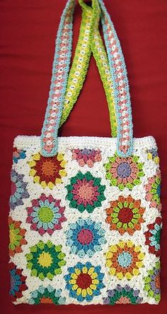 Crochet bag - I remember making a bag similar to this when I was a child. I adored the softness of the wool and the bright colours. I felt so proud of my achievement!
