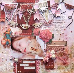 """Emilia van den Heuvel: Love is. {Merly Impressions & Kaisercraft met uitleg} KAISERCRAFT """"key to my heart"""" collection Paper Bag Scrapbook, Vintage Scrapbook, Scrapbook Journal, Scrapbook Page Layouts, Scrapbook Pages, Scrapbooking Ideas, Create A Banner, How To Make Banners, Layout Inspiration"""