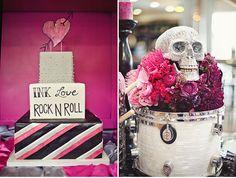 love this rock & roll wedding // flowers & skull on drum // pink & purple