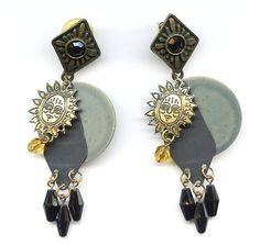 "Vtg 1980s ""NEWPRO"" Dangle Mixed Metal Charms Beads SUN FACE Pierced Earrings  $14.95"