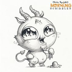 Chris ryniak - morning scribbles - cute and funny art Cute Monsters Drawings, Cartoon Monsters, Little Monsters, Cartoon Drawings, Cute Drawings, Animal Drawings, Fall Drawings, Doodle Monster, Monster Drawing