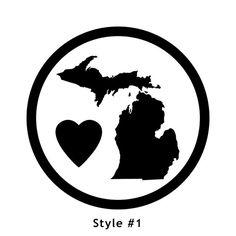 Vinyl Decal: Love Michigan  White & Green by MythicMerchandise