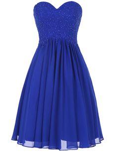 Buy Simple A-line Appliques Royal Blue Short Bridesmaid Dresses 2016 Bridesmaid…