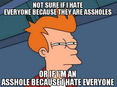 Not sure if I hate everyone because they are assholes.. or if I'm an asshole because I hate everyone...Shocking how much this fits me...