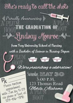 Medical or Nursing School Graduation Party Invitation by APlumHoot